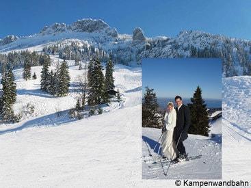 Kampenwand – Brautpaar auf Skiern